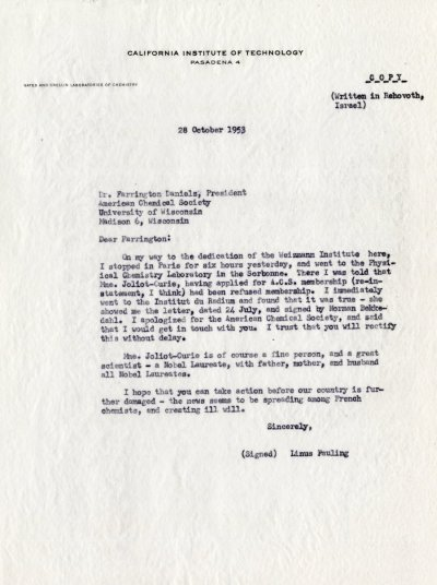 Letter from Linus Pauling to Farrington Daniels. Page 1. October 28, 1953