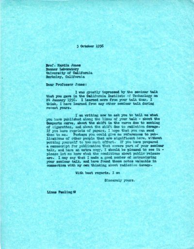 Letter from Linus Pauling to Hardin Jones. Page 1. October 3, 1956