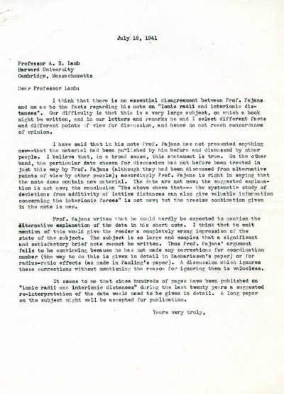 Letter from Linus Pauling to Arthur B. Lamb. Page 1. July 18, 1941