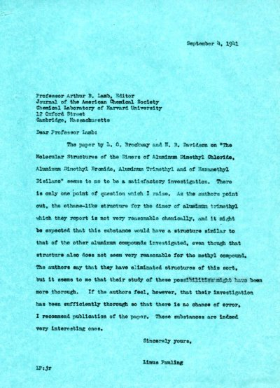 Letter from Linus Pauling to Arthur B. Lamb. Page 1. September 4, 1941