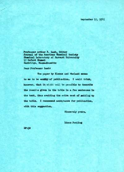 Letter from Linus Pauling to Arthur B. Lamb. Page 1. September 15, 1941