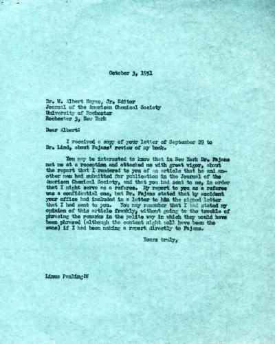 Letter from Linus Pauling to W. Albert Noyes, Jr., Journal of the American Chemical Society.Page 1. October 3, 1951