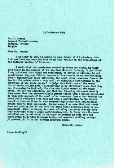 Letter from Linus Pauling to J. Jennen. Page 1. September 23, 1953