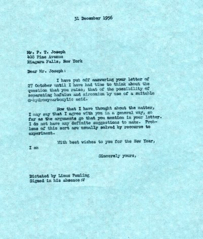 Letter from Linus Pauling to P.T. Joseph. Page 1. December 31, 1956