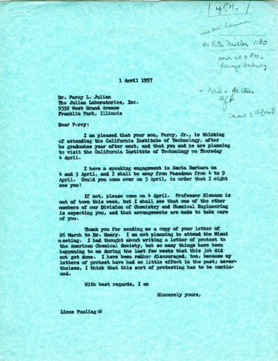 Letter from Linus Pauling to Percy Julian. Page 1. April 1, 1957