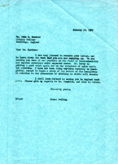 Letter from Linus Pauling to John C. Kendrew. Page 1. January 22, 1947