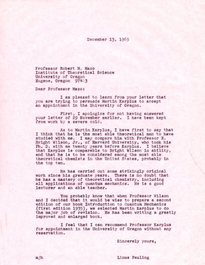 Letter from Linus Pauling to Robert Mazo. Page 1. December 13, 1965