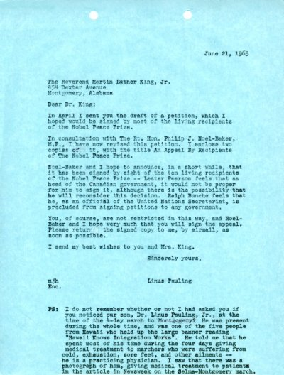 Letter from Linus Pauling to Martin Luther King, Jr.Page 1. June 21, 1965