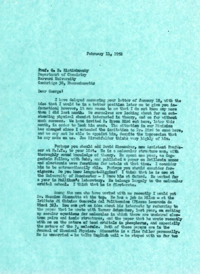 Letter from Linus Pauling to George B. Kistiakowsky.Page 1. February 11, 1952