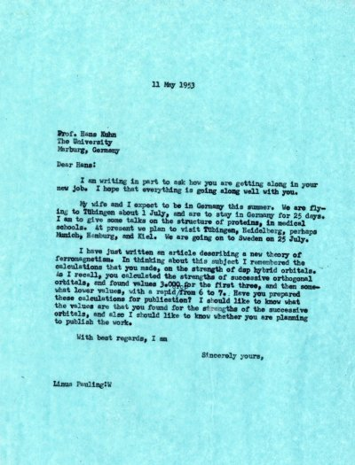 Letter from Linus Pauling to Hans Kuhn. Page 1. May 11, 1953