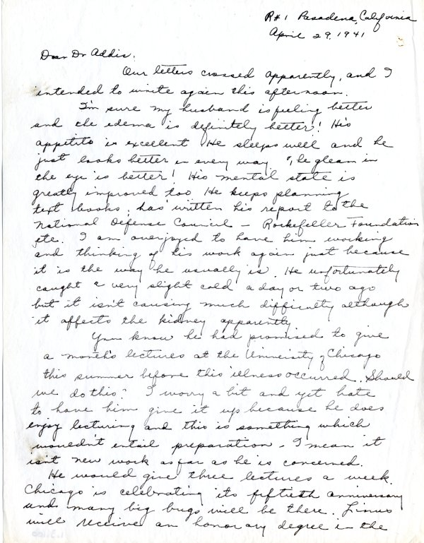 Letter from Ava Helen Pauling to Thomas Addis.Page 1. April 29, 1941