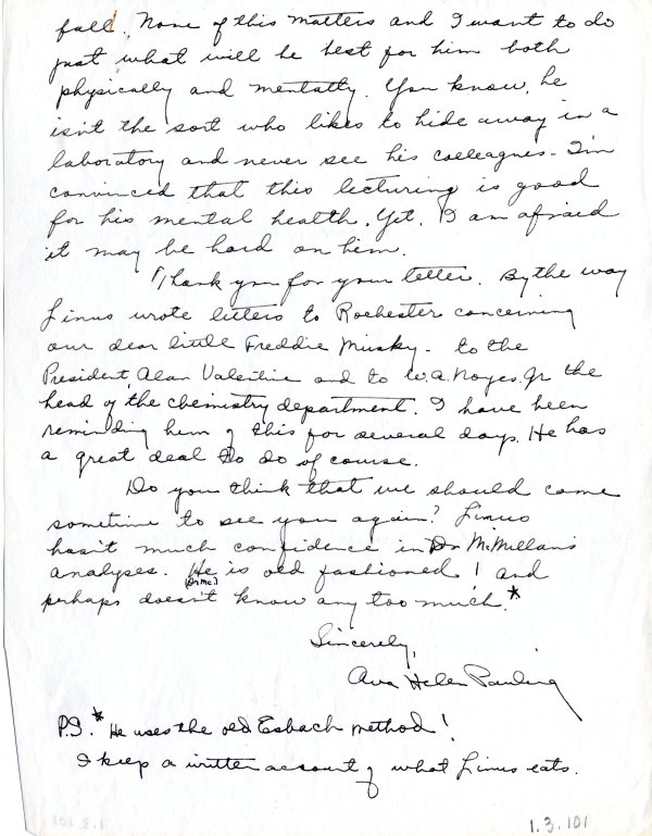Letter from Ava Helen Pauling to Thomas Addis.Page 2. April 29, 1941
