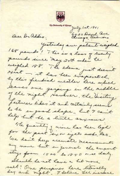 Letter from Ava Helen Pauling to Thomas Addis. Page 1. July 1, 1941