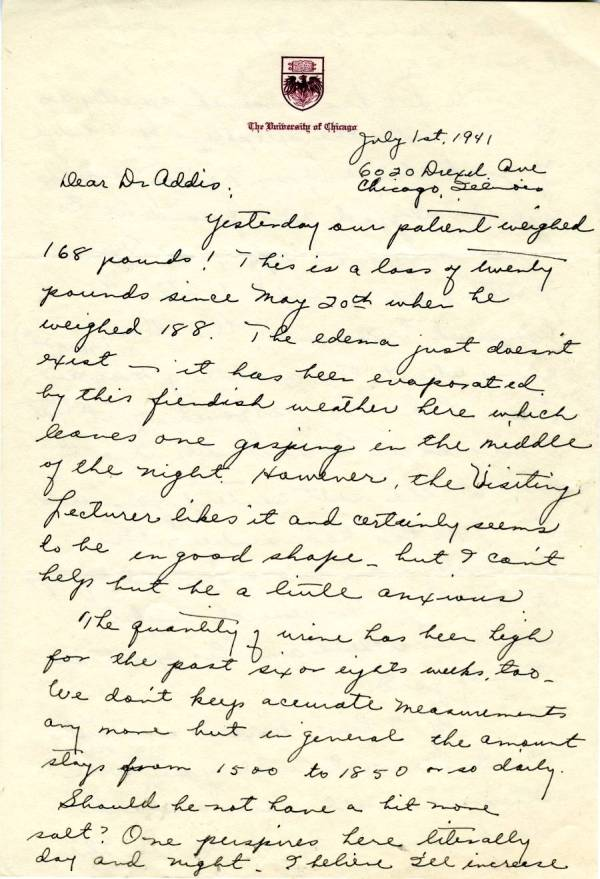 Letter from Ava Helen Pauling to Thomas Addis.Page 1. July 1, 1941