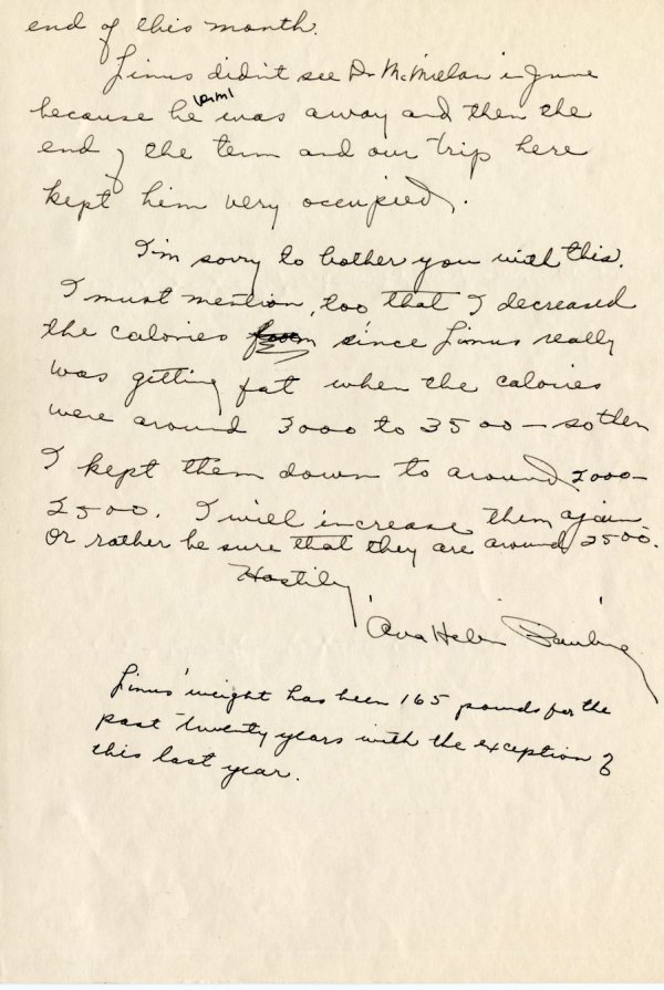 Letter from Ava Helen Pauling to Thomas Addis. Page 3. July 1, 1941
