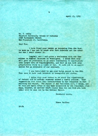 Letter from Linus Pauling to Thomas Addis. Page 1. April 25, 1945