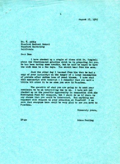 Letter from Linus Pauling to Thomas Addis. Page 1. August 27, 1945