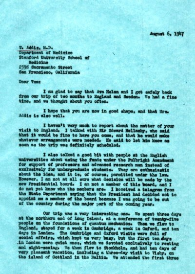Letter from Linus Pauling to Thomas Addis. Page 1. August 6, 1947