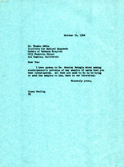 Letter from Linus Pauling to Thomas Addis. Page 1. October 14, 1948
