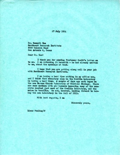 Letter from Linus Pauling to Kenneth Koe.Page 1. July 27, 1954
