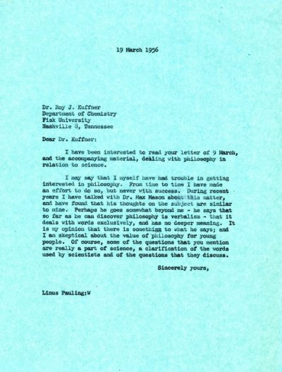 Letter from Linus Pauling to Roy J. Kuffner. Page 1. March 19, 1956