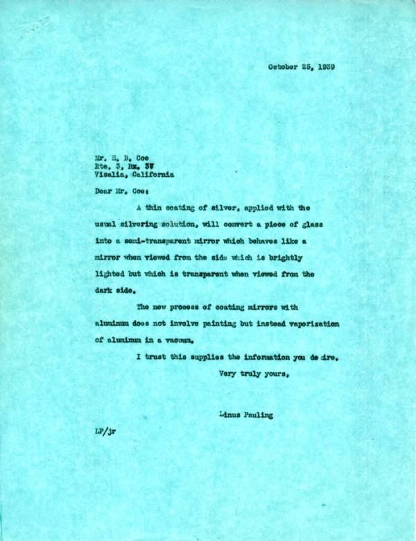 Letter from Linus Pauling to E.B. Coe.Page 1. October 25, 1939