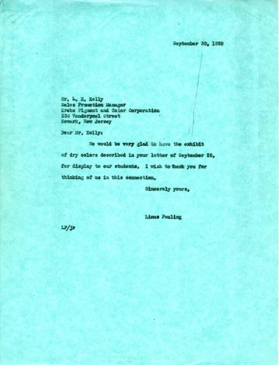 Letter from Linus Pauling to L.E. Kelly.Page 1. September 30, 1939