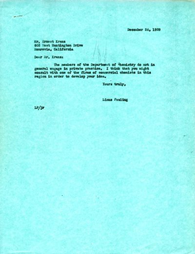 Letter from Linus Pauling to Ernest Kranz. Page 1. December 26, 1939