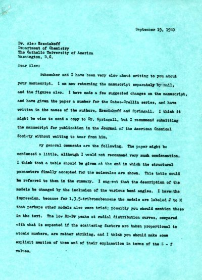 Letter from Linus Pauling to Alexander Kossiakoff. Page 1. September 19, 1940