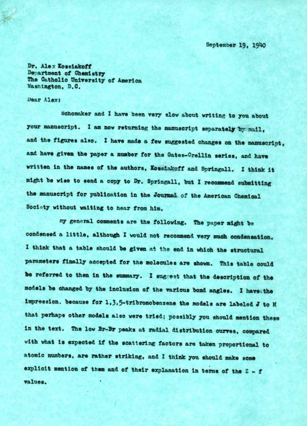 Letter from Linus Pauling to Alexander Kossiakoff.Page 1. September 19, 1940