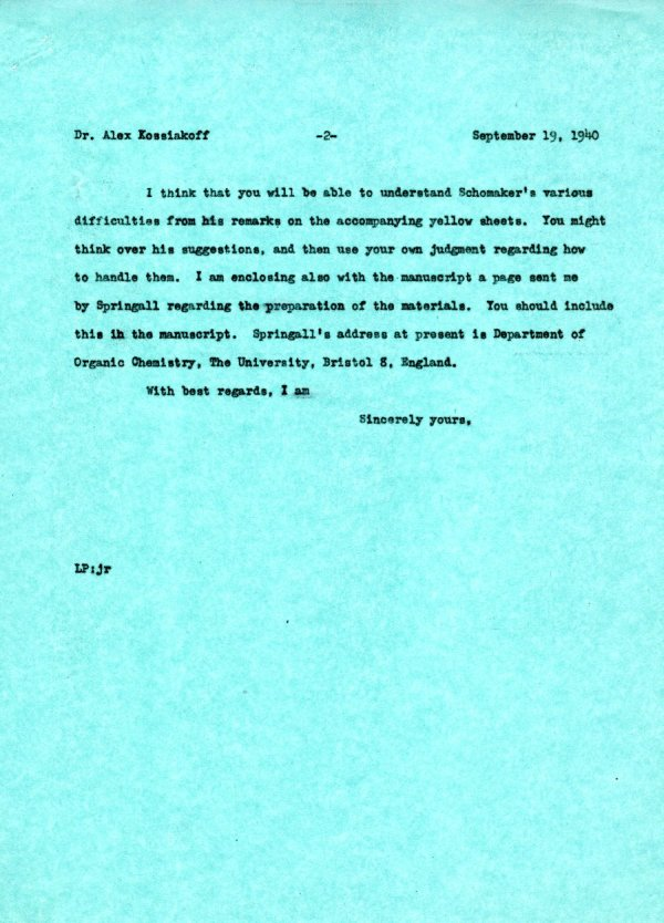 Letter from Linus Pauling to Alexander Kossiakoff.Page 2. September 19, 1940