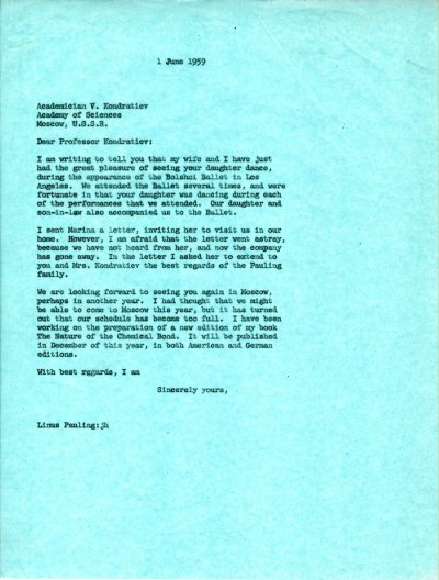 Letter from Linus Pauling to V.N. Kondratiev. Page 1. June 1, 1959