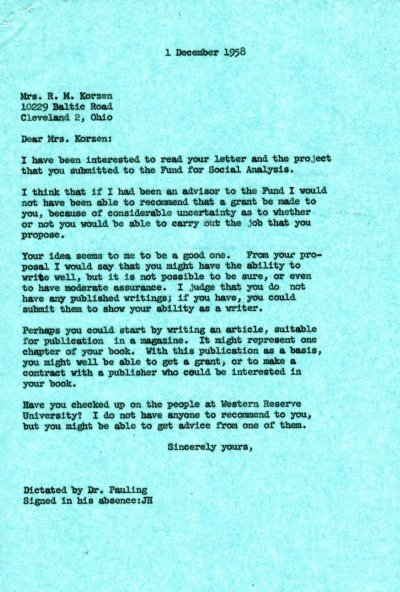 Letter from Linus Pauling to R.M. Korzen.Page 1. December 1, 1958