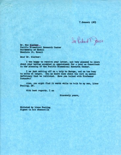 Letter from Linus Pauling to Max Kleiber. Page 1. January 7, 1963