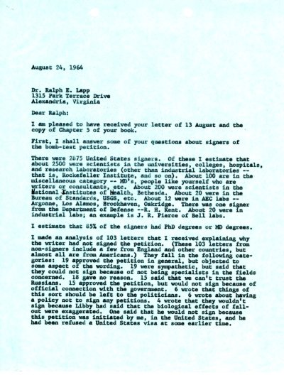 Letter from Linus Pauling to Ralph E. Lapp. Page 1. August 24, 1964
