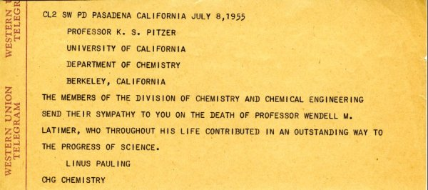 Telegram from Linus Pauling to Kenneth Pitzer. Page 1. July 8, 1955