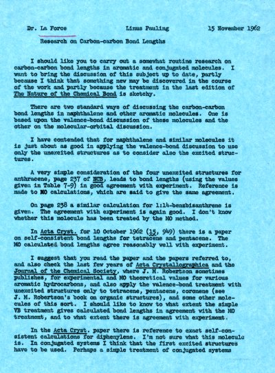 Memorandum from Linus Pauling to Richard La Force. Page 1. November 15, 1962