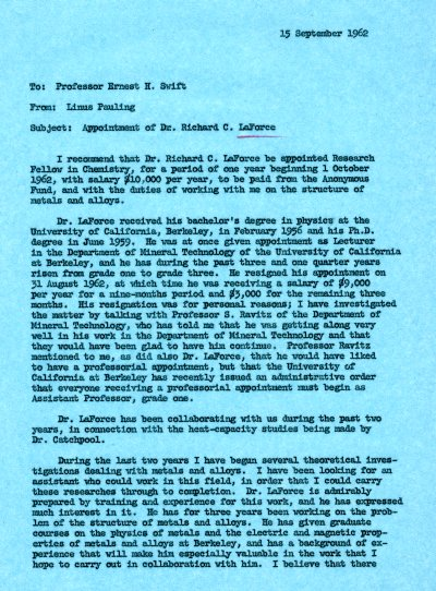 Memorandum from Linus Pauling to Ernest H. Swift. Page 1. November 15, 1962