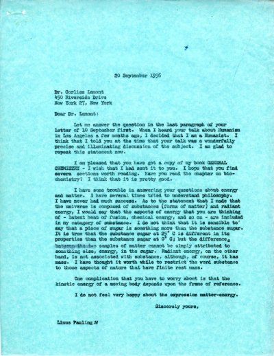 Letter from Linus Pauling to Corliss Lamont. Page 1. September 20, 1956