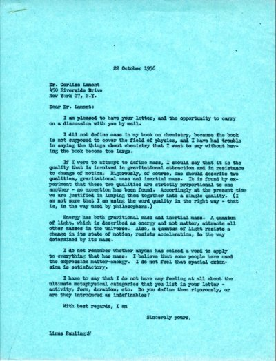 Letter from Linus Pauling to Corliss Lamont. Page 1. October 22, 1956