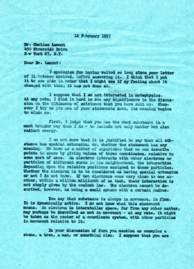 Letter from Linus Pauling to Corliss Lamont. Page 1. February 12, 1957