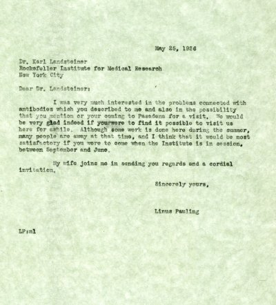 Letter from Linus Pauling to Karl Landsteiner. Page 1. May 25, 1936