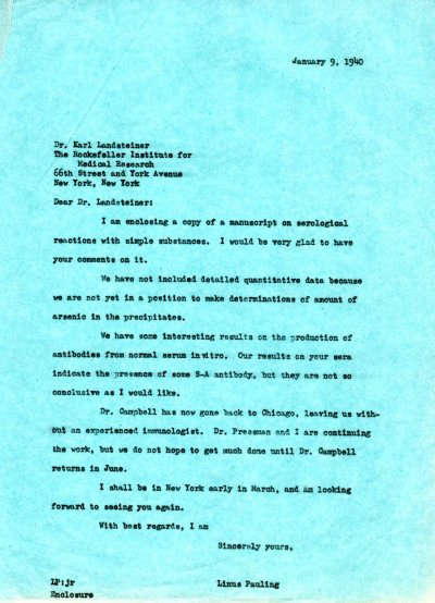 Letter from Linus Pauling to Karl Landsteiner. Page 1. January 9, 1940