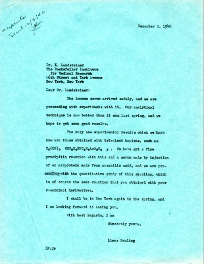 Letter from Linus Pauling to Karl Landsteiner.Page 1. December 2, 1940