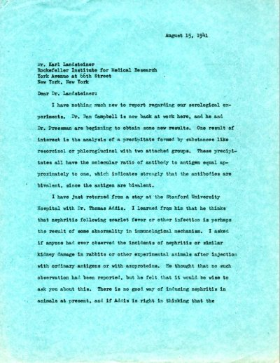 Letter from Linus Pauling to Karl Landsteiner. Page 1. August 15, 1941