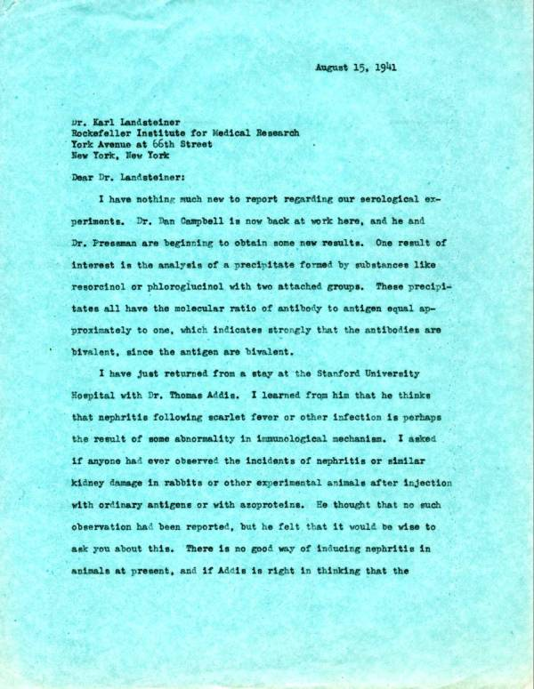 Letter from Linus Pauling to Karl Landsteiner.Page 1. August 15, 1941