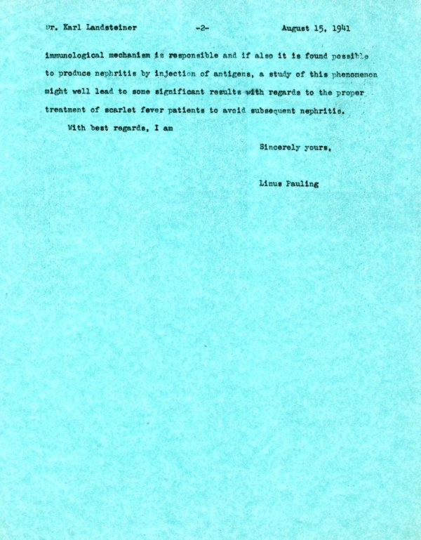 Letter from Linus Pauling to Karl Landsteiner.Page 2. August 15, 1941