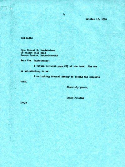 Letter from Linus Pauling to Mrs. Ernest K. Landsteiner.Page 1. October 13, 1944