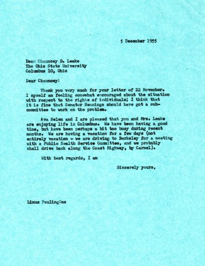 Letter from Linus Pauling to Chauncey Leake. Page 1. December 5, 1955