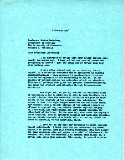 Letter from Linus Pauling to Joshua Lederberg. Page 1. January 4, 1956